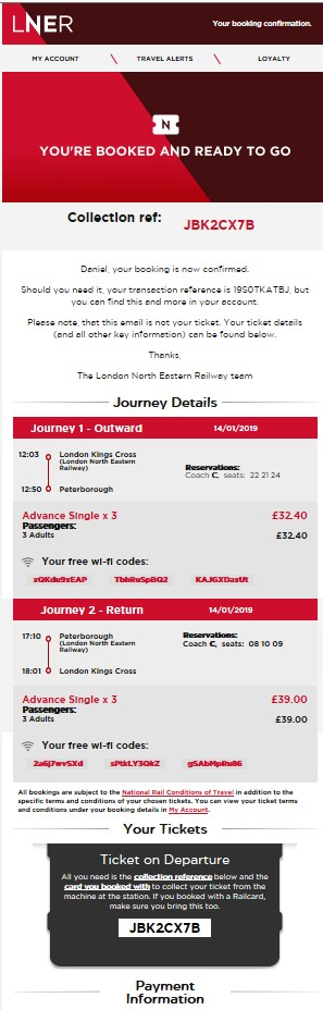 Customer Journey LNER booked image