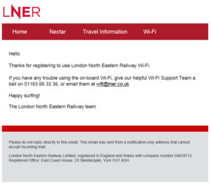 Customer Journey LNER confirmation image