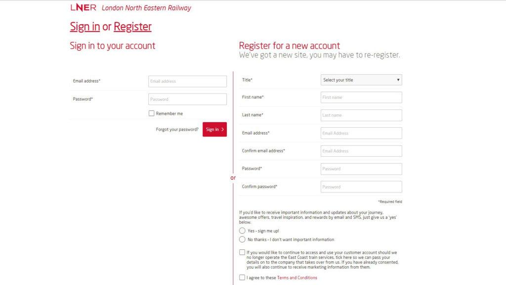 Customer Journey LNER registration image