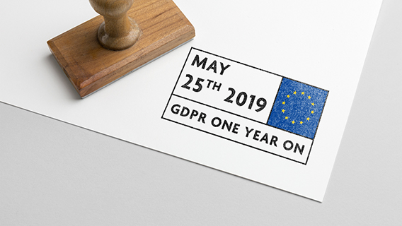 GDPR one year on stamp image